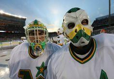 Don Beaupre & Gilles Meloche Hockey Helmet, Hockey Goalie, Hockey Games, Ice Hockey, Minnesota North Stars, Minnesota Wild, Wild North, Gal Gadot Wonder Woman, Goalie Mask