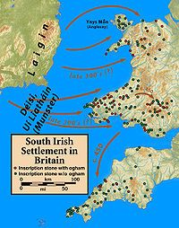 """Settlement of the Irish Uí Liatháin and Déisi in Wales and Cornwall. [[MORE]] tyrroi: """" A lot of Irish influence in Wales, the name Gywnedd comes from an old Irish word, i'm from Brycheiniog which. History Of Wales, World History, Family History, Remission Of Sins, Map Of Britain, Old Irish, Roman Era, William Christopher, Blue Green Eyes"""