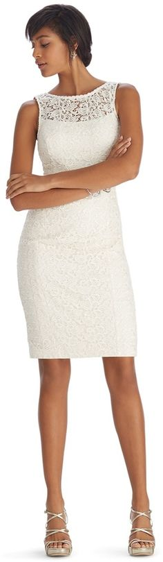 $109, White House Black Market Sleeveless Lace Sheath Dress. Sold by White House Black Market. Click for more info: https://lookastic.com/women/shop_items/130142/redirect
