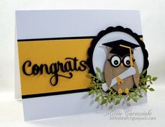 handmade graduation card: KC Impression Obsession Owl ... die cut sentiment and adorable owl wearing his mortar board cap and carrying a diploma ... luv it!