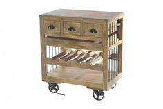 Amara Contemporary Wooden Wine Cart w/Shelf on Wheels