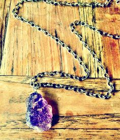 Handmade Amethyst chunk necklacechain length approx 20inchAmethyst is the stone of spiritual growth and protectionamazing healing properties positive affect against insomnia  stimulates intuition great for meditation as it promotes clarity removing anxiety