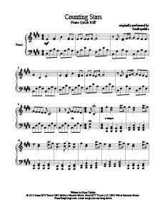 Counting Stars - OneRepublic. Download free piano sheet music for over 200 songs at www.PianoBragSongs.com.