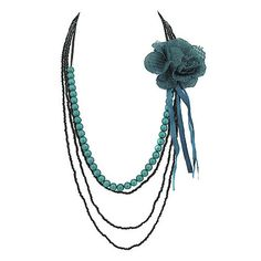 Teal flower necklace – Jc & Crew Flower Necklace, Crochet Necklace, Beaded Necklace, Teal Flowers, Vintage Flowers, Turquoise Necklace, Mermaid, Metallic, Amp