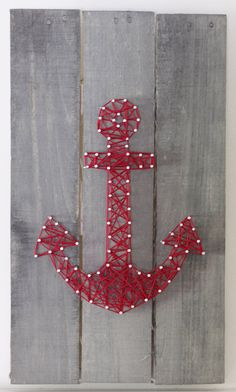 String Art Anchor on reclaimed wood canvas by ElevenOwlsStudio