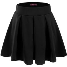 Doublju Women Soft Fabric Fit and Flared Pleated Mini Skirt with... ($14) ❤ liked on Polyvore featuring skirts, mini skirts, bottoms, black, doublju, short pleated skirt, pleated miniskirt and pleated skirt