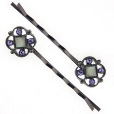 Black Purple Swarovski Elements and Blue Mother of Pearl Bobby Pin Set
