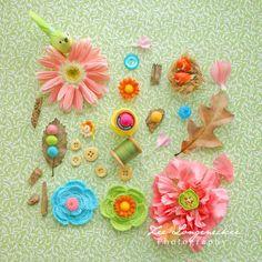 Pink Flowers Green Bird