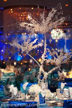 Starry Night Wedding Reception Centerpiece.