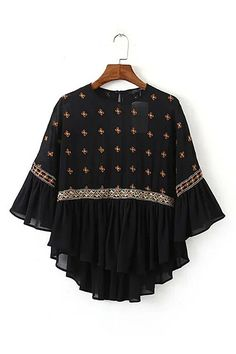 SheIn offers Black Crew Neck Embroidered Sheer Blouse & more to fit… Kurti Designs Party Wear, Kurta Designs, Blouse Designs, Frock Design, Frock Fashion, Fashion Dresses, Girls Fashion Clothes, Clothes For Women, Stylish Dresses For Girls