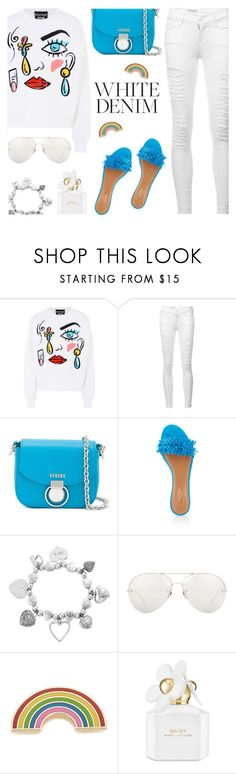 """Bright White: Summer Denim"" by rasa-j ❤ liked on Polyvore featuring Boutique Moschino, Frame, Versus, Aquazzura, ChloBo, Linda Farrow, Georgia Perry, Marc Jacobs, whitejeans and womensFashion"