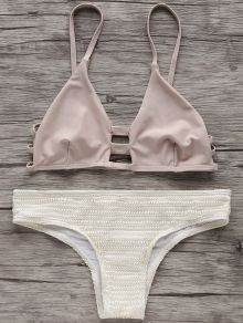 Elastic Spaghetti Straps Bikini Set