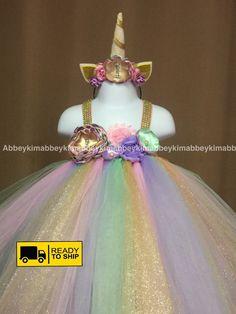 Beautiful baby girl first birthday tutu dress unicorn theme in