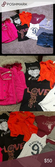 Girls Lot Size 8/10 TEN ITEM Girls bundle of: 3 tank tops (Abercrombie, Rebellious One, Kiddo) 3 pairs of shorts (Cherokee, Roxy, French Star) 2 shirt sleeve shirts (PS Aeropostale, Chillipop) 1 long sleeve shirt (PS Aeropostale) 1 vest with faux fur on hood (PS Aeropostale)  All in excellent used condition. No stains, tears  or holes. Aeropostale Shirts & Tops Tees - Short Sleeve
