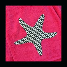 Pink starfish nautical applique towel.  For beach or bath. Black & white chevron. 54 x 30 inches. on Etsy, $12.00