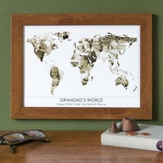 Personalised 'Grandad's World' Photograph Map. Give Grandad a gift he'll treasure forever with a personalised 'Grandad's world' photograph map, using beautiful images of his grandchildren to create his world. www.helloruth.co.uk