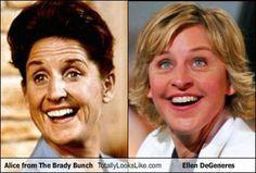 Ellen looks like Alice from The Brady Bunch!