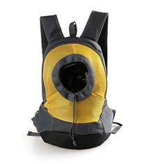 HENREK Dog Cat Pet Carrier Backpack Head Out Outdoor Travel Carrier Bag for Traveling Hiking Biking Handsfree M Yellow * You can get more details by clicking on the image.