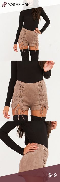 Suede Lace Up Shorts Faux suede lace up shorts. Price is FIRM. NO TRADES. Bare Anthology Shorts