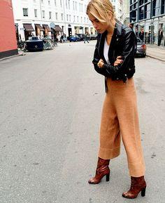 street style calca culotte com bota como usar looks jaqueta couro