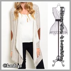 Camel Patch Cardi Grey & ivory draping lapel cardi with suede camel color elbow patches. Super soft made of a cotton/spandex blend. Size S, M, L Threads & Trends Sweaters Cardigans