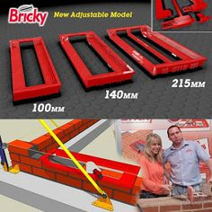 Half Price Launch Offer :: Includes our Brick Tape, add our DIY DVD Box Set for even better value. The New Bricky® Adjustable Brick Laying Tool. Cool Tools, Diy Tools, Brick Building, Building A House, Garage Atelier, Brick Laying, Brick Masonry, Construction Tools, Brick Block