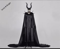Custom Made Halloween Adult Maleficent Cosplay Costume Dress with Horns