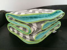 Deluxe Crib Blanket in Grey Chevron with Aqua Minky and Lime Piping Trim