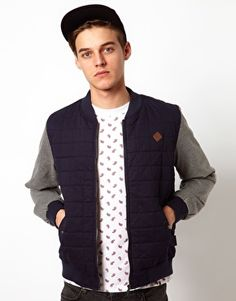 Image 1 ofBellfield Quilted Bomber With Contrast Sleeves #asos