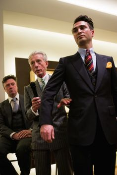 Edward Sexton and Dominic Sebag-Montefiore at the Permeant Style Tailoring Symposium in Florence over Pitti