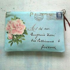 pink and aqua shabby chic envelope makeup bag Genius Ideas, Letter Writing, Letter Art, Mail Art, Love Letters, Pretty Letters, Purses And Bags, Coin Purses, Sewing Projects