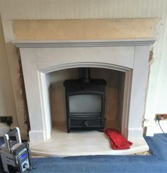 Portuguese Limestone with a wood burning stove