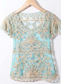 Dark Blue Crochet Lace Embroidery Short Sleeve Chiffon Blouse