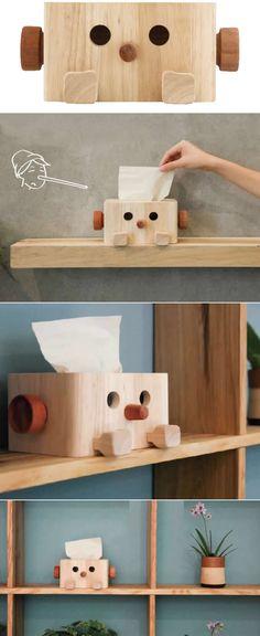 Wood Pinocchio Tissue Box
