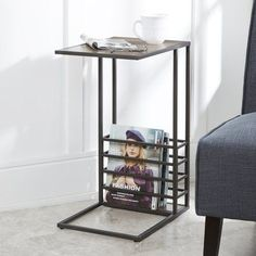 Save space and complement your home's modern style with our Beckett Wood and Metal C-Table! Its built-in magazine rack makes it the perfect chairside table. Diy End Tables, Metal End Tables, End Table Sets, End Tables With Storage, Western Furniture, Metal Furniture, Furniture Plans, Living Room Furniture, Diy Furniture Easy