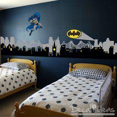 Batman Gotham City Skyline City Buildings with Batman and Batman Emblem Vinyl Wall Decal Sticker - City Night Skyline- by StunningWalls on Etsy https://www.etsy.com/listing/210535831/batman-gotham-city-skyline-city