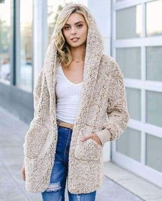 """⭐⭐⭐⭐⭐(Pre-Order) """"NEW"""" Sherpa Grande Fluffy Hooded Cardigan – Military Hippie Hooded Cardigan, Sweater Jacket, Sporty Outfits, Casual Winter Outfits, Mode Outfits, Cute Coats, Cardigan Outfits, Sweaters, Outfits"""