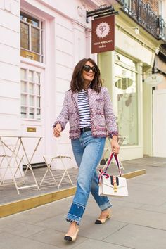 high waisted jeans with Chanesque tweed jacket