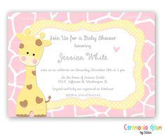 Bebé ducha chica o chico jirafa amarillo y azul por ceremoniaGlam