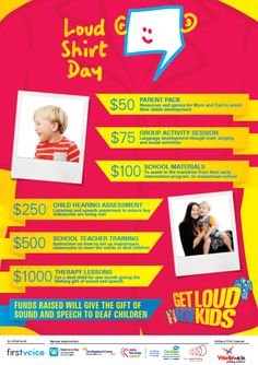 Loud Shirt Day Host Kit What Your Donation Buys Poster  www.loudshirtday.com.au