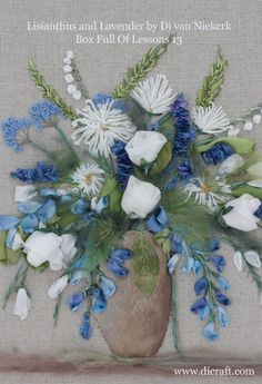 A lovely new silk ribbon embroidery kit especially for the beginner. Box Full of Lessons 13 - Lisianthus and Lavender