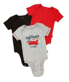 Disney Cuddly Bodysuit -  Fashion 3 Pack: Disney / Pixar Cars Driver Seat, Heather/Red/Black, 3-6 Months Disney. $12.99