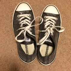 #PoshLoveFest HP💫 Silver Glittery Converse #PoshLoveFest Total Trendsetter Party HOST PICK 💫💫💫 Pre loved but still in good condition and has a lot of life left 😀 I don't want to let go of these but they are too narrow for my feet 😕 better for narrow feet. ⛔️ NO TRADES, NO PAYPAL, NO MERCARI, NO HOLDS ⛔️ smoke free, pet free home 😊 let me know if you have other questions 😊 PLEASE MAKE OFFERS THROUGH THE OFFER BUTTON 😄 Converse Shoes