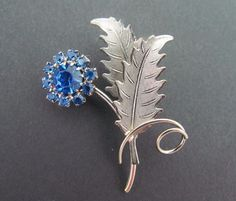 Vintage Silver Tone Pronged Sapphire Blue Rhinestone FLOWER LEAF Brooch Pin
