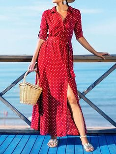 83f73fafc3f Polka-dot V-neck Long Sleeves Maxi Dress. oshoplive