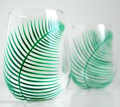 Fern Stemless Wine Glasses-Set of 2 hand-painted glasses by Mary Elizabeth Arts