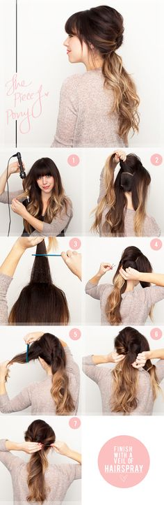 MUST TRY!  Things Needed: Curling Iron, Elastic Band, Bobby Pins, Comb & Hair Spray. 1) Curl hair and create a low pony tail with the bottom middle portion of the hair & divide the rest into 3 sections 2) Tease the top portion & twist it down to the ponytail & pin it 3) Tease side portion & twist it to the ponytail & pin it 4) Repeat on other side 5) Add some hair spray & you are ready to go!
