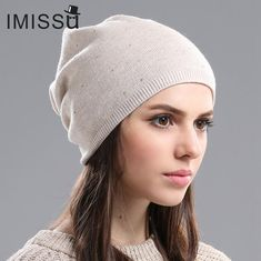 81776f3fd94fa IMISSU Women s Winter Hat Knitted Wool Beanie Female Fashion Skullies  Casual Outdoor Mask Ski Caps Thick Warm Hats for Women
