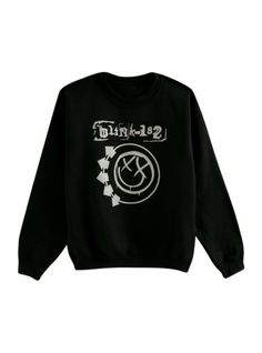 Crewneck sweatshirt from Blink-182 with smiley logo design on front.