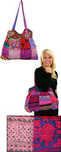 Life's Mosaic Embroidered Patchwork Bag - Purchase funds 14 bowls of food for shelter animals!